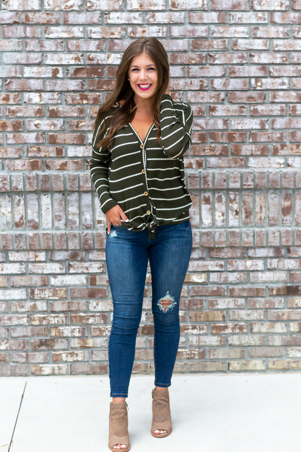 Olive Thermal Knit Top- Cotton Ave Boutique