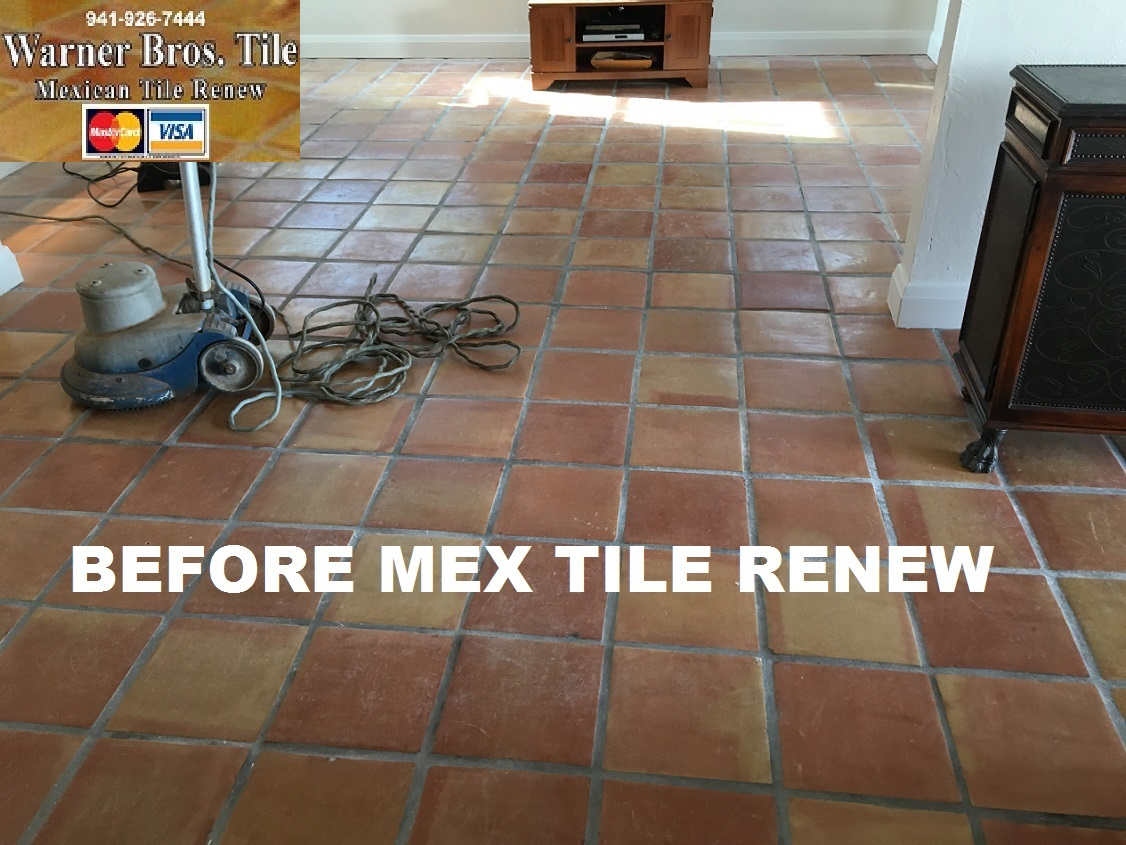Mexican tile renew sarasota fl cleaning sealing mexican tile mexican tile renew project at st pete beach home where mexican tile flooring had been installed 16 years ago and had not been refinished dailygadgetfo Image collections