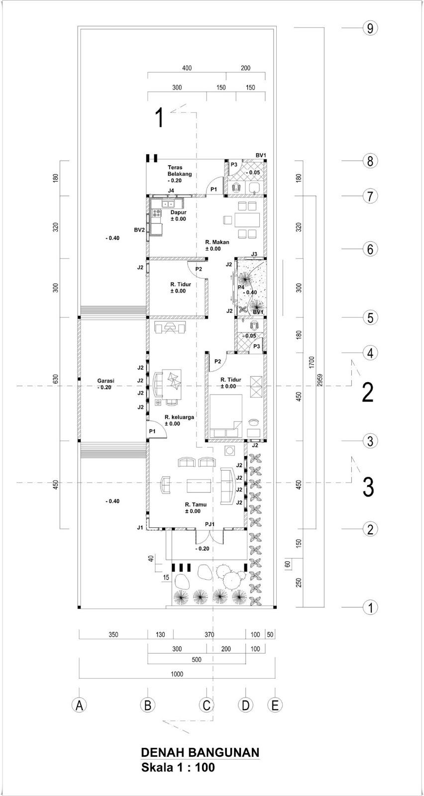 Denah Rumah Tinggal Ukuran 6 X 17 M Lahan 9 X 29 M