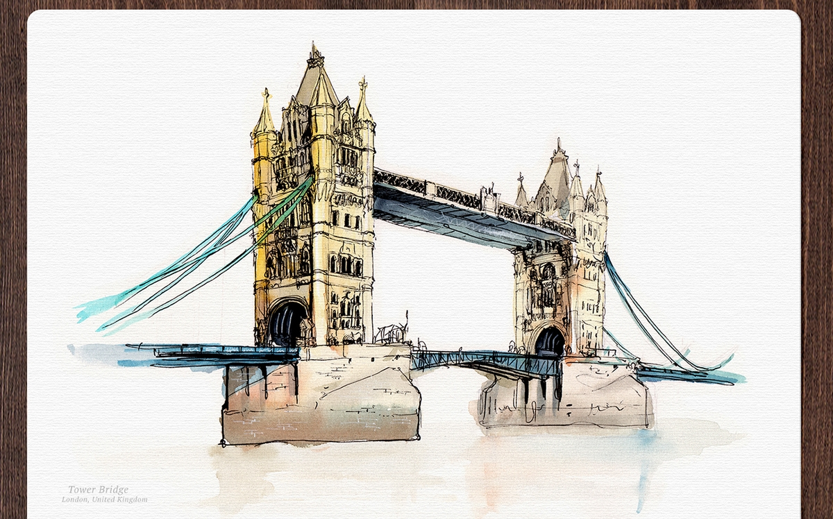 05-London-Bridge-United-Kingdom-Mucahit-Gayiran-Architectural-Landmarks-Mixed-Media-Art-Part-2-www-designstack-co