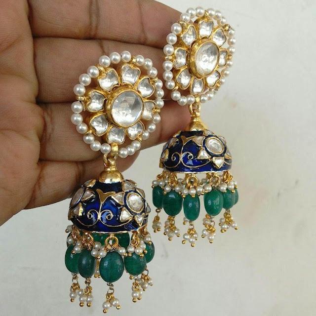 Meena Work Silver Plated Jhumkas