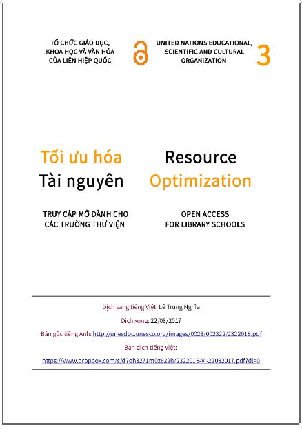 'Tối ưu hóa tài nguyên' - bản dịch sang tiếng Việt