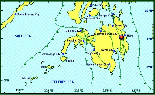 PHIVOLCS: Earthquake tracking map for the 2.9 magnitude spotted in the sea near Bislig City.