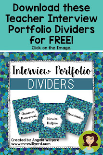 Teacher Interview Portfolio Dividers - Freebie - Be one step closer to landing the teaching job you've always wanted!