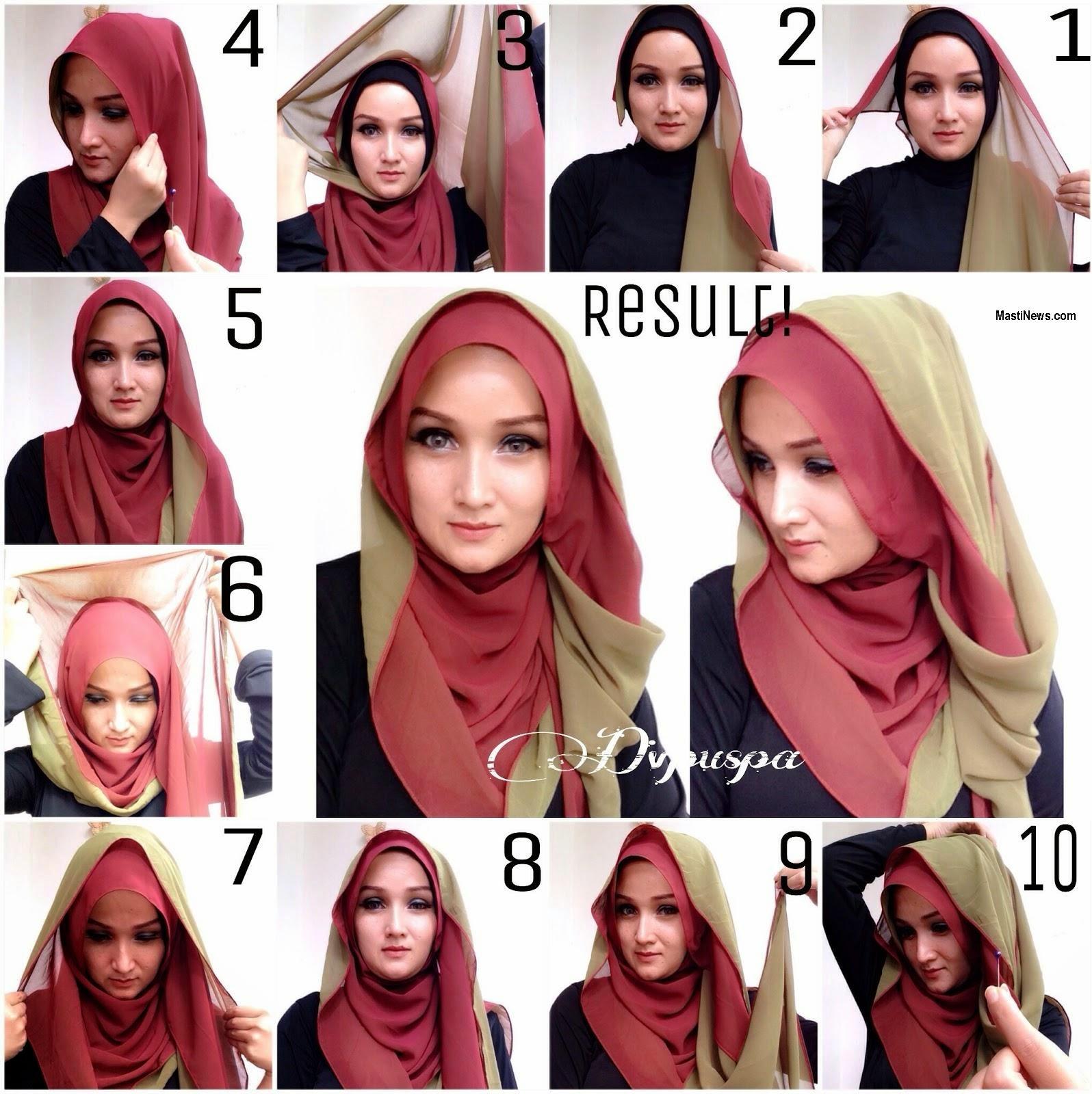Kreasi Cantik Dengan Hijab Pashmina Modern Double Warna Tutorial