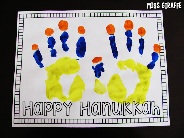 FREE Hanukkah handprint craft for kids