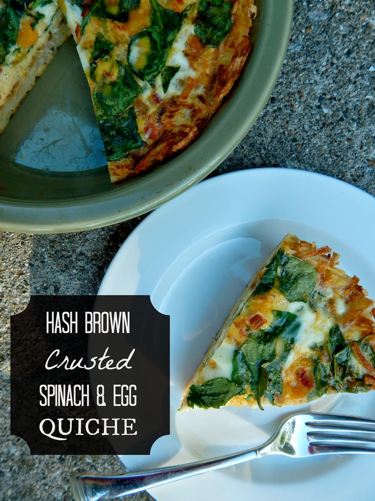 Hash Brown Crusted Spinach & Egg Quiche...a crispy bottom crust and a loaded egg filling!  Perfect for breakfast, brunch or even dinner. (sweetandsavoryfood.com)