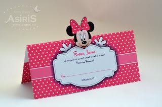 Plic bani botez tematic Minnie Mouse cu cap decupat si pus in relief