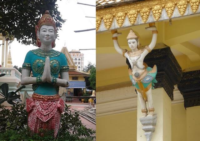 Detale figuras del jardin y de la fachada del templo