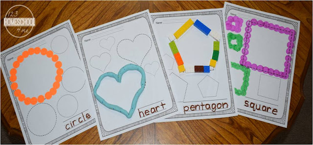 shape worksheets - trace the shapes