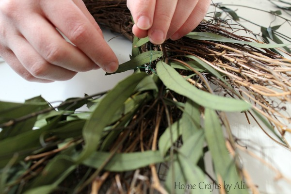 Floral wire to secure eucalyptus greenery
