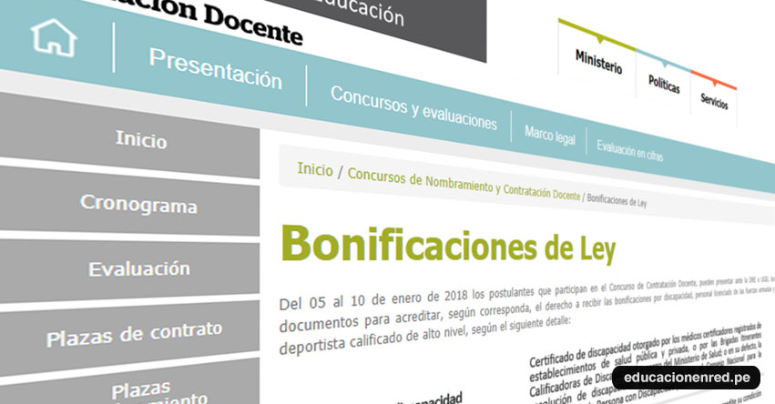 CONTRATO DOCENTE 2018: Cómo acreditar la «Bonificaciones de Ley» www.minedu.gob.pe