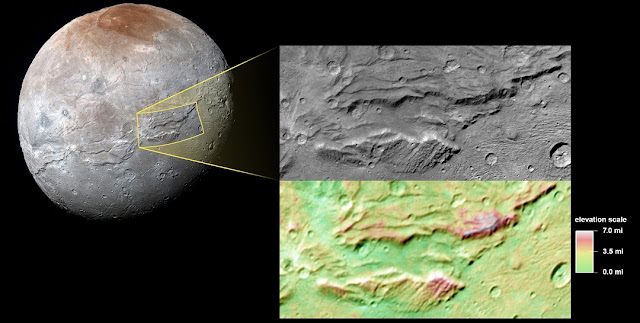Images from NASA's New Horizons mission suggest that Pluto's largest moon, Charon, once had a subsurface ocean that has long since frozen and expanded, pushing out on the moon's surface and causing it to stretch and fracture on a massive scale. Credit: NASA/Johns Hopkins University Applied Physics Laboratory/Southwest Research Institute