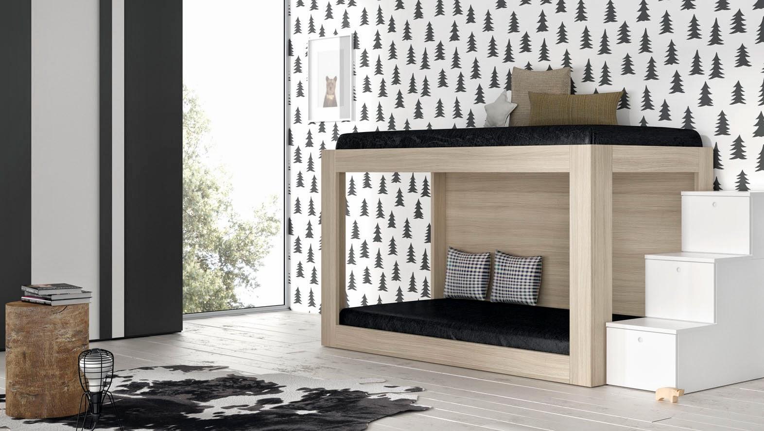 litera color madera con escalera de cajones blanca