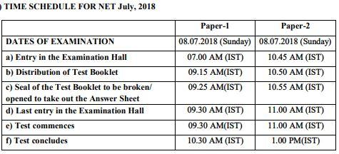 image : Time Schedule - UGC NET July 2018 @ cbse-net.in