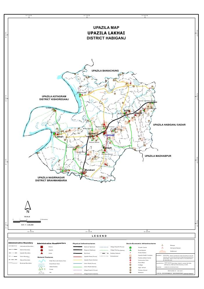 Lakhai Upazila Map Habiganj District Bangladesh