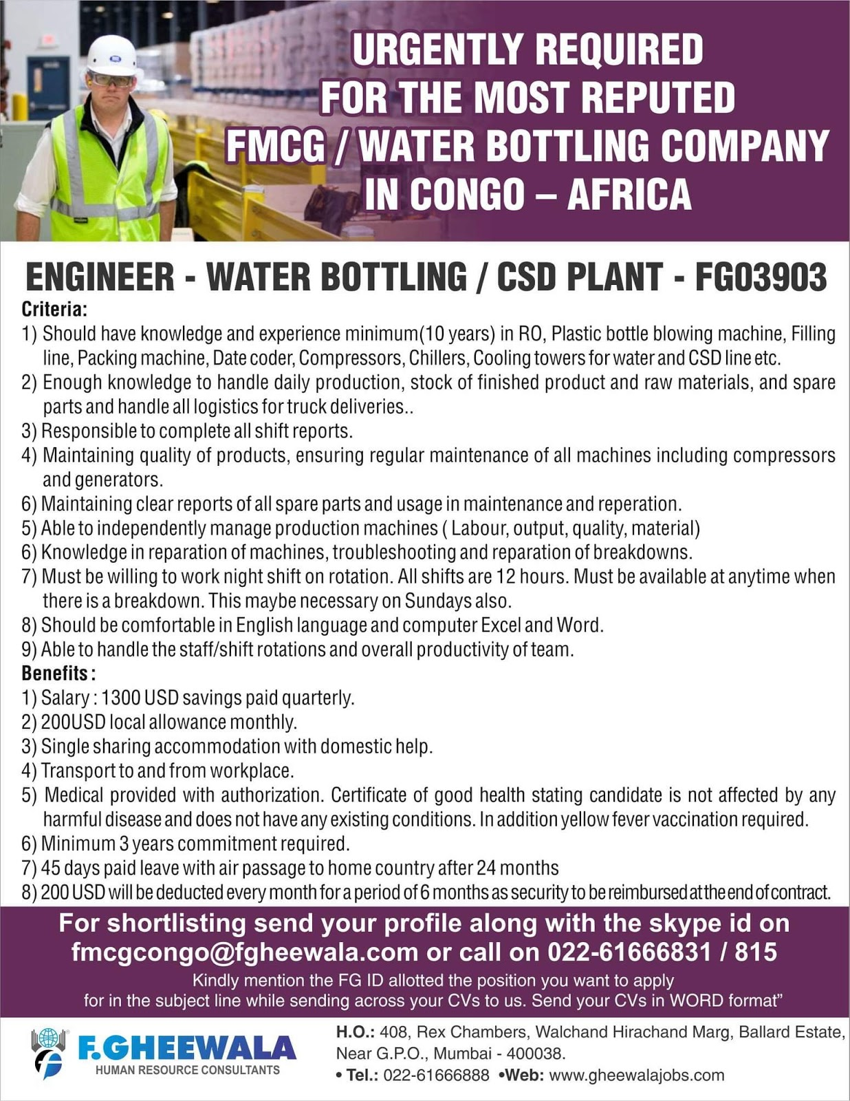 Jobs In Africa-Urgently Required for most Reputed FMCG/Water