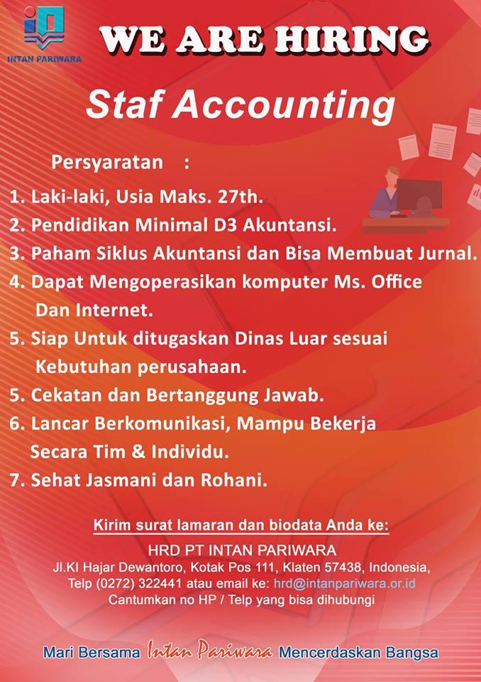 Lowongan Kerja Staf accounting dan s1 semua jurusan PT Intan Pariwara