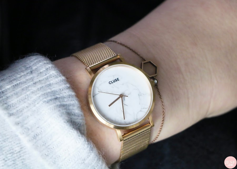 montre Cluse bijou tendance mode or rose marbre