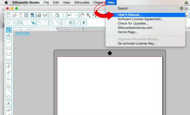 Silhouette Studio, Silhouette tip, keyboard shortcuts, help, user's manual