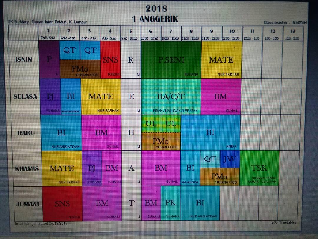 Jadual Waktu Mengikut Kelas Sesi 2018 Sekolah Kebangsaan St Mary