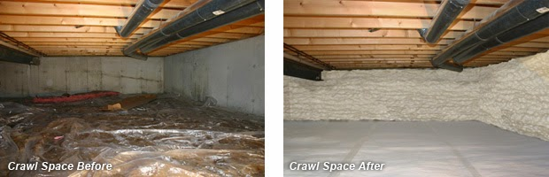 Crawl Space Before & After Insulation - Devere Insulation Home Performance