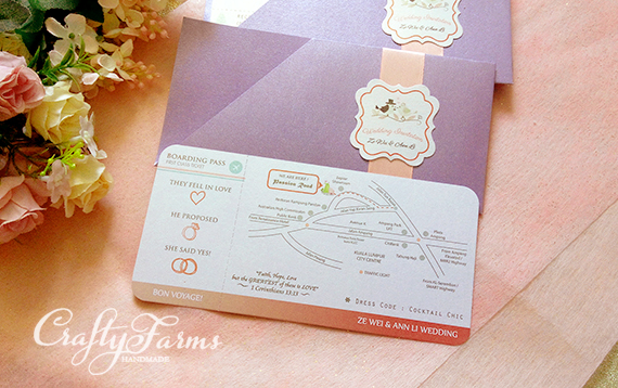 Purple and Pink Boarding Pass Wedding Invitations