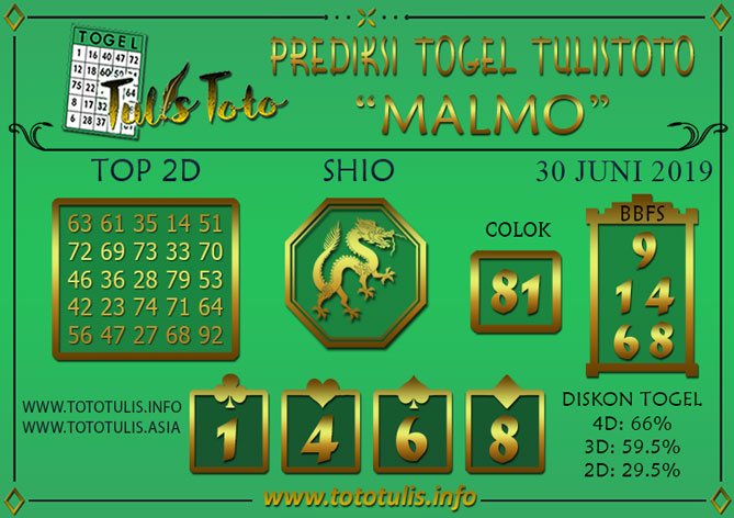 Prediksi Togel MALMO TULISTOTO 30 JUNI 2019