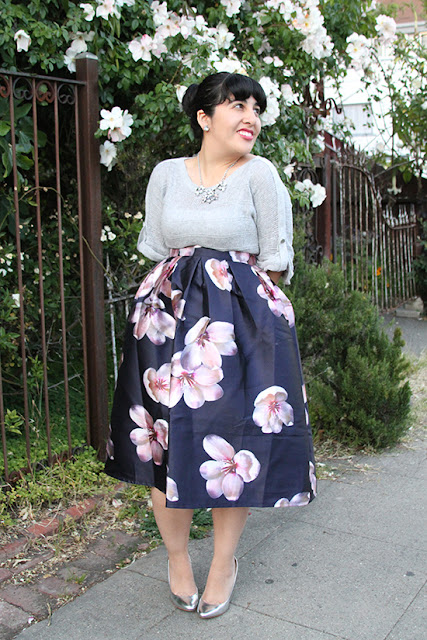 Chicwish Floral Print Skirt and Knit Sweater