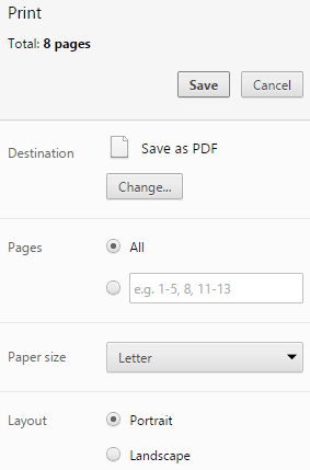 Google Chrome Print as PDF