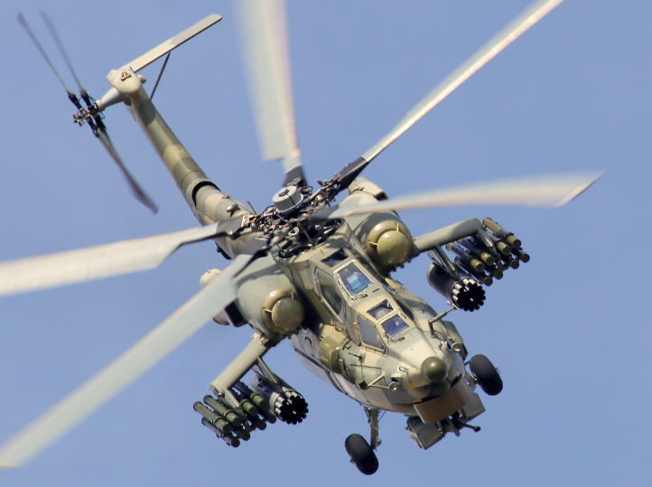 Un Mil Mi 28 ruso, porque la potencia de fuego nunca sobra.