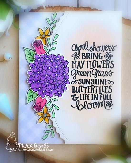 April Showers Card by Maria Russell | Lovely Blooms Stamp & Die Set and April Showers Stamp Set by Newton's Nook Designs #newtonsnook #handmade