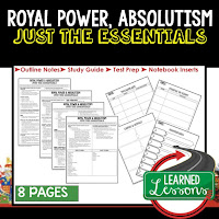 Absolutism, World History Outline Notes, World History Test Prep, World History Test Review, World History Study Guide, World History Summer School Outline, World History Unit Overview, World History Interactive Notebook Inserts