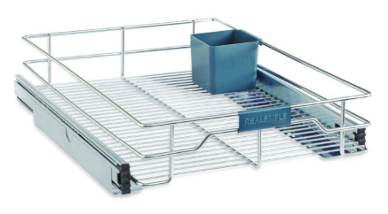 image of a chrome cabinet organizer, with blue plastic detailing