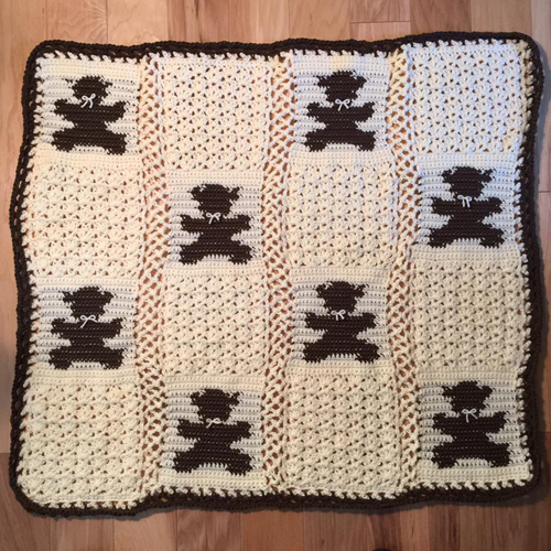 Teddy Bear Block Blanket - Free Pattern