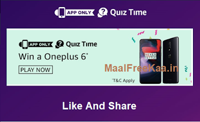 OnePlus 6 Prime Week Quiz Answer