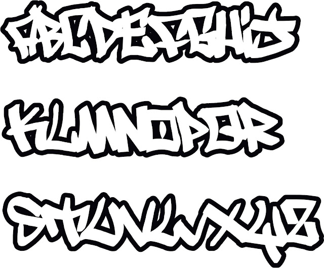 Graffiti alphabet vector, graffiti letters