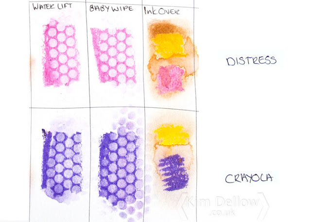 Results of Tim Holtz Distress Crayons Versus Crayola Slick Stix removed through stencil; Video from Kim Dellow