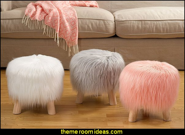 Long Haired Faux Fur Pouf Stool  faux fur home decor - fuzzy furry decorations - Flokati - mink - plush - shaggy - faux flokati upholstery - super soft plush bedding - sheepskin - Mongolian lamb faux fur - Faux Fur Throw - faux fur bedding - faux fur blankets - faux fur pillows - faux fur decorating ideas - faux fur bedroom decor - fur decorations - fluffy bedding - feathery lamps