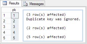 Duplicate key warning