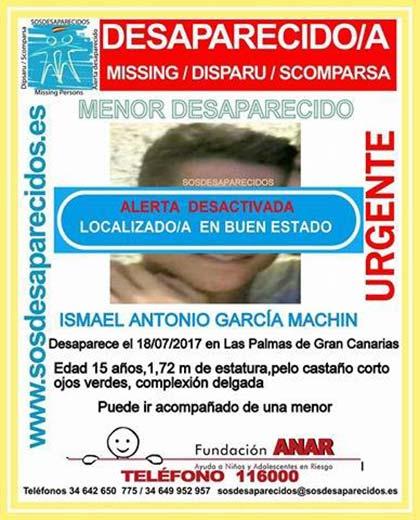 Localizado en buen estado menor de 15  años, Ismael Antonio García Machín, desaparecido en Las Palmas de Gran Canaria