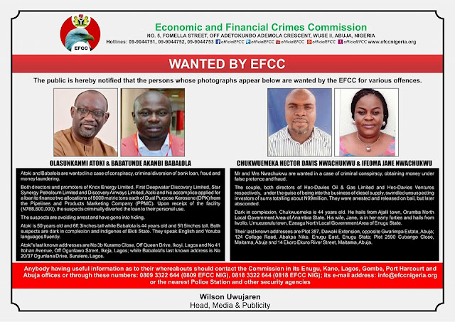 These People Have Been Declared Wanted By EFCC.. See Photos