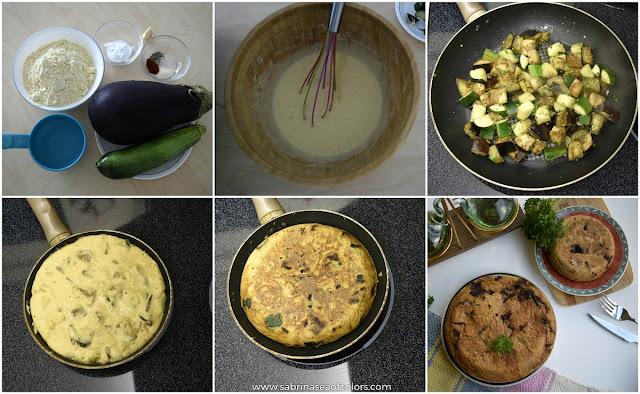 Tortilla vegana de berenjena y calabacín