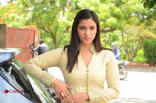 Actress Mannara Chopara Pictures in Long Dress at Thikka First Look Launch  0137.JPG