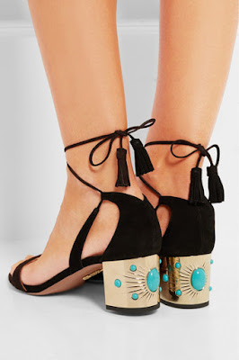 Aquazzura 'Cleopatra' Embellished Low Block Heels
