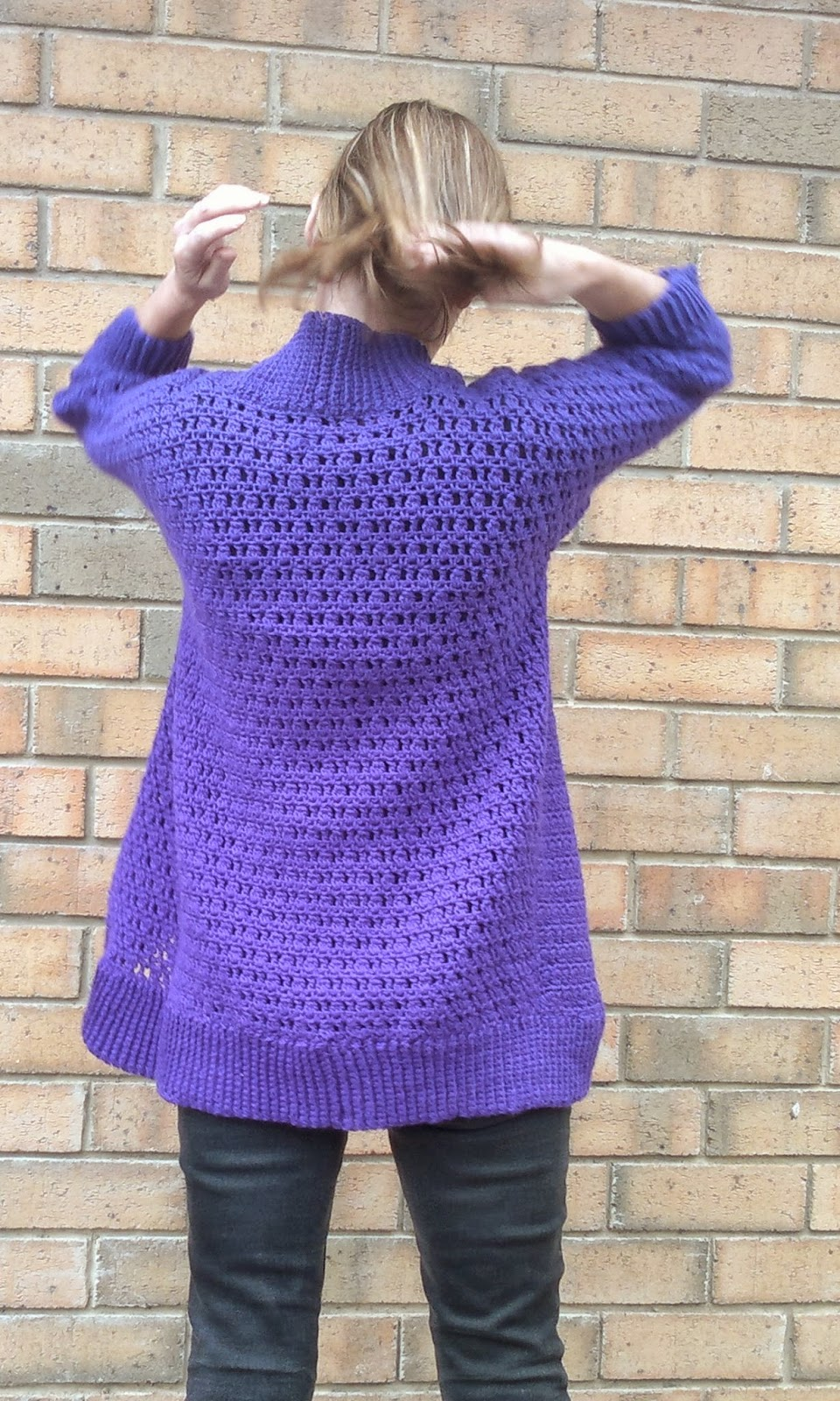 View of the back of the Belcarra cardigan.