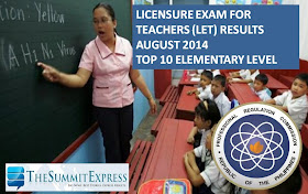Top 10 List of Passers August 2014 LET Teachers board exam Elementary