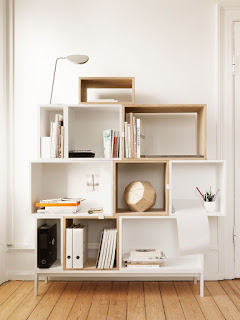 minimalist modular shelving unit combined with hardwood flooring and white wall paint