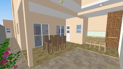 """A cozinha e a sala de jantar se juntam à varanda através de portas de correr. O lavabo está posicionado estrategicamente no vértice da área de lazer disposta em """"L"""", que conta ainda com uma churrasqueira e pia externa."""