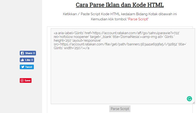 Kode HTML dan CSS